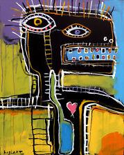 Jeff HUGHART abstract outsider expressionist pop punk art PRINT - PINK HEART