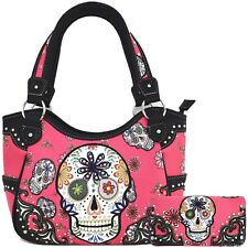 Sugar Skull Halloween Purse Punk Handbag Women's Totes Shoulder Bag Wallet Set
