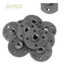 10pcs 1/2'' Malleable Threaded Floor Flange Pipe Fittings Wall Mount Black