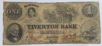 1856 Obsolete Banknotes $1 The Tiverton Bank, RI - Rhode Island - Sep. 20, 1856