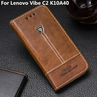 Retro Phone Stand Case Leather Slots Wallet Flip Cover For Lenovo Vibe C2 K10A40