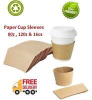 50-2000 Coffee cup Brown Sleeves Kraft Cardboard Paper cups 8,12,16oz Hot Cups