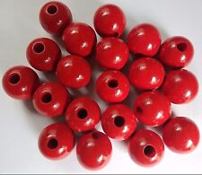"""Lot of 20 Red Wood Round Macrame Wooden Craft Plant Hanger Beads 1-1/2"""" 38mm"""