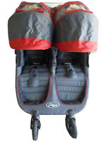 Baby Jogger City Mini GT Red/Gray Jogger Double Seat Stroller Plus Travel Bag