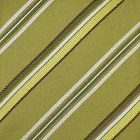 HUGO BOSS BLACK LABEL Mens Pistachio Lime Brown STRIPED Woven Silk Tie Italy EUC