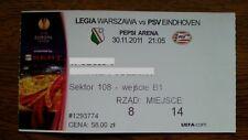 Ticket LEGIA WARSAW - PSV EINDHOVEN 2011/12 Europa League Poland Netherlands