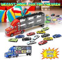 13Pcs/Set Transport Car Carrier Truck Boys Toy Model Lorry Truck Kid Xmas