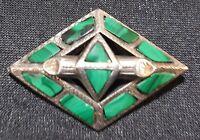 Russian green malachite & silver vintage Art Deco antique brooch