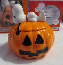 New Peanuts SNOOPY Ceramic Pumpkin Candy Dish Halloween w/ candy