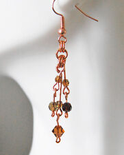 Solid .999 Copper W/Swarovski™ & Czech Glass Bi-Cone/Round Crystal Bead Earrings