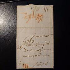 1666 LETTRE COVER PORT III + MARQUE PASSAGER A LA CRAIE ROUGE LILLE POUR ANVERS