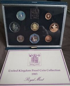 1983 ROYAL MINT UK PROOF COIN COLLECTION SLIGHT DISCOLORATION ON SOME COINS