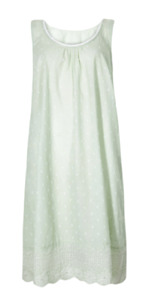 EX M&S GREEN PURE COTTON EMBROIDERED DOBBY NIGHTDRESS NEW