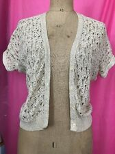 Cream Knitted Cardigan Gold Tread Age 7/8 But Fits A Size 10
