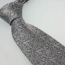 HEROBEHAVIOR Ties Silver and Black Paisley Classic Necktie Microfiber Tie 8cm