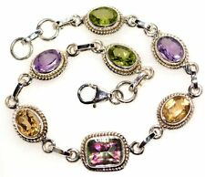 Unique Multi Gemstone 925 Sterling SILVER Bracelets Genuine Bracelet Jewellery