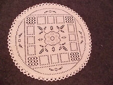 beautiful vintage hand crochet crocheted / embroidered doilie white on ivory