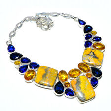 """Bumble Bee Jasper- Indonesia & Citrine 925 Sterling Silver Necklace 17.99"""" S1974"""