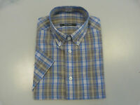 EX M&S Marks And Spencer Short Sleeve Pure Cotton Check Shirt Blue Natural S-XXL