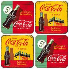 NOSTALGIE Untersetzer COCA COLA für Gläser/Tassen 4 Stück 2 Motive Coke NEU OVP