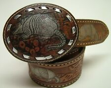 WOMEN TEXTAN BRN LACED LEATHER TOOLED JUNE ARMADILLO COWBOY WESTERN BELT SZ 30