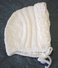 Baby Infant Crocheted Bonnett Hat! Baptism. Protection. Gift. Soft and New!