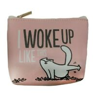 SIMONS CAT I WOKE UP LIKE THIS SMALL COIN PURSE ZIP WALLET PINK CARTOON