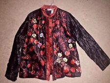 SALE @ Nearly New WHITE STAG Geisha Roses Chinese Blazer Jacket Women Sz S 4 6