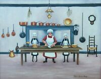AUSTRALIAN NAIVE OIL PAINTING - MARJORIE BAIRSTOW HARVEY - THE KITCHEN -  P186