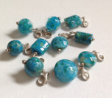 Lela Belle Hand Blown Murano Glass Beads - Set of 10 - Shades of Turquoise B22