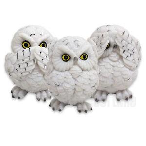 THREE WISE OWLS FIGURINE ORNAMENT BIRDS SEE NO SPEAK NO HEAR NO EVIL 8CM