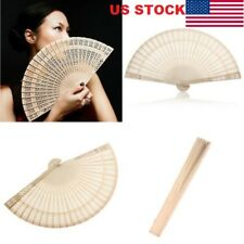 Chinese Bamboo Folding Hand Fan Wedding Party Flower Pattern Vintage Wooden