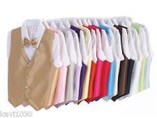 Boys Vest and Bow Tie Set Formal Suit Clip-On Bowtie Choice 22 Colors 3M-14 740