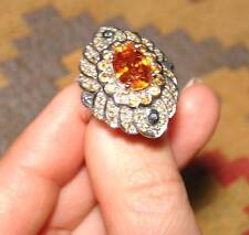 EARTH MINED NATURAL ORANGE 100% ORIGINAL GARNET & SAPPHIRE SILVER RING L@@K !!!