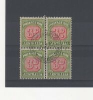 Australia 1938 3d Postage Due FU CDS block of 4