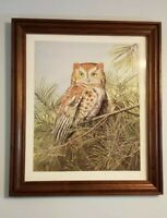 Owl Painting Framed Signed Print by Ericka Smith DeLong Beautiful Piece of Art