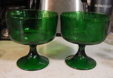 Vintage 1950s match pair of Hoosier emerald Glass footed Candy Bowl/dish compote