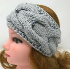 Women Kerchief Hand Knit 100% Cashmere Turban Gray color  Warm Headscarf