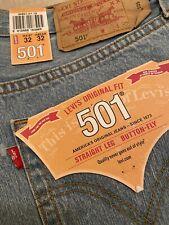 Levis 501 Light Blue Denim W 32 L 32 Regular Straight Leg Jeans Classic Jean