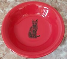 Fruit Bowl w/ Black Cat - Homer Laughlin China Co. Fiesta - Scarlet Red