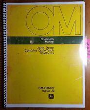 John Deere 45 55 95 105 3300 4400 6600 7700 Combine Quik-Tatch Platform Manual