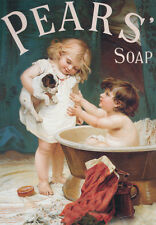 VINTAGE PEARS SOAP  Puppy Love * QUALITY CANVAS ART PRINT