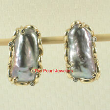 14k Yellow Solid Gold Omega Clip; Diamond & Black Biwa Pearl Earrings TPJ