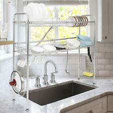 93CM Over The Sink Dish Drying Rack Stainless Steel Kitchen Cutlery Holder Shelf