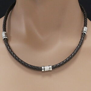 Real Leather Chain for Men Dark Stainless Steel Collier STORCH SCHMUCK Germany