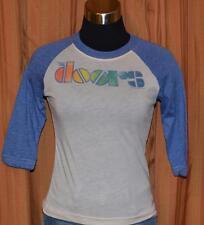 The Doors Junk Food Tan Blue 3/4 Sleeve Baseball Rock T-Shirt Ladies Womens XS