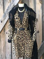 Vintage Silk Leopard Cheetah Blazer Dress Oversized Jacket Free People