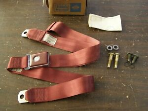 NOS OEM Ford 1967 Galaxie 500 Fairlane Mustang Falcon Front Seat Belt Maroon Red