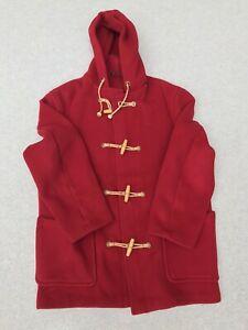 MENS VINTAGE GLOVERALL RED HOODED DUFFLE COAT WOOL RICH WOOD TOGGLES LARGE