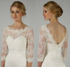 Elegant Wedding Boleros White Ivory Lace Bridal Jackets 3/4 Sleeve V Back Custom